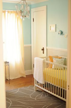 Gray, Aqua and Yellow Elephant Nursery. Love!