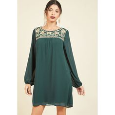 Boho Short Length Long Sleeve Tent She's Be-Cider-Self Long Sleeve... ($24) ❤ liked on Polyvore featuring dresses, apparel, fashion dress, green, green long sleeve dress, gold long sleeve dress, gold dress, see-through dresses and sheer dress