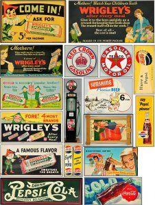 Old signs for your layout Vintage Tins, Vintage Labels, Vintage Ephemera, Retro Vintage, Ho Scale Train Layout, Model Train Layouts, Vintage Seed Packets, Train Posters, Printable Designs