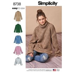 Simplicity Sewing Pattern 8738 Misses' Knit Mini Dress, Tunic or Top. The picture shows a sweater knit. Sweater Knitting Patterns, Knit Patterns, Clothing Patterns, Dress Patterns, Tunic Sewing Patterns, Apron Patterns, Fall Patterns, Easy Knitting, Fabric Patterns