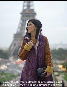 Laura comolli wears stefanel color block maxi pull