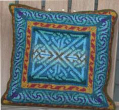 If you enjoy Fair Isle knitting than this beautiful Celtic Pillow is a must have. The colorful knitting pattern features a deep mitered border around a central square.
