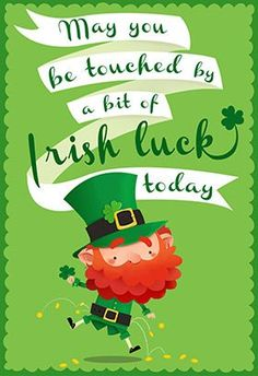 """Touched by abitof irish luck"" printable card. Customize, add text and photos. print for free! Patrick's day st patricks day wishes Touched by a Bit of Irish Luck - St. St Patricks Day Pictures, St Patricks Day Cards, St Patricks Day Quotes, Happy St Patricks Day, St Patrick Quotes, Sant Patrick, St Patricks Day Wallpaper, Luck Of The Irish, Irish Luck"
