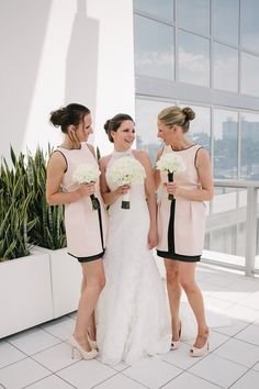 Black and blush bridesmaid dresses | Modern Black + White Destination Wedding in Miami | Images by Carolina Guzik Photography