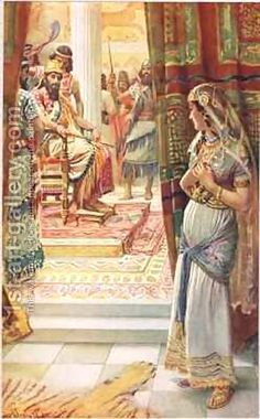 Esther, illustration from 'Women of the Bible', published by The Religious Tract Society, 1927 by Harold Copping ~ Biblical Old Testament art Lds Art, Bible Art, Jewish Art, Religious Art, Arte Lds, Book Of Esther, Esther Bible, Arte Judaica, Jean Leon