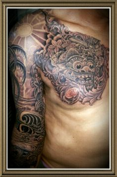 Barong balines tattoo culture indonesia.