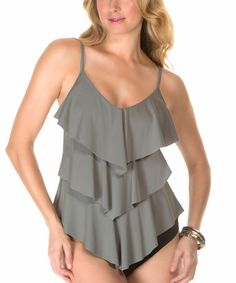 Another great find on #zulily! Stone Ruffle Rita Tankini Top #zulilyfinds