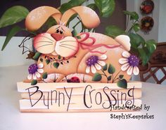 Handpainted Spring Bunny,EASTER Hand Painted Wood Sign,  Home Decor, Spring,  Kitchen, Bathroom, Living Room, Garden, Wall Hanging. $19.95, via Etsy.