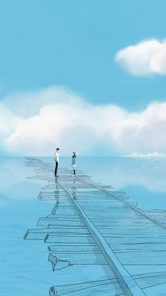 fate that brought me to you. destiny that will bring us to happy doors. fate will also take me away from you Cute Couple Art, Anime Love Couple, Anime Scenery Wallpaper, Wallpaper Backgrounds, Aesthetic Art, Aesthetic Anime, Fantasy Landscape, Fantasy Art, Cover Wattpad