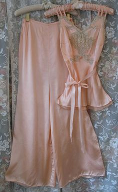 Vintage 1930s 40s Pale Peach Silk Rayon by VintageClothingandCo,