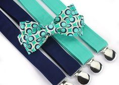 Mens Retro Dot Bow Tie and Coordinating Suspenders by PaigeGrayson, $55.00