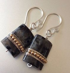 Black labradorite rectangular earrings in silver frame with gold-filled beads - wire wrapped earrings