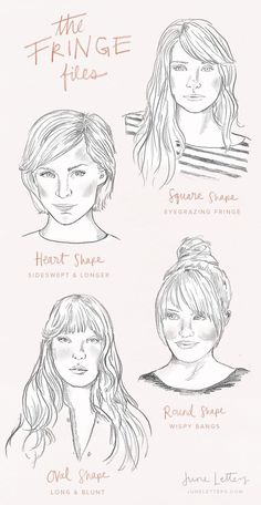 The best bangs for your face shape illustration.