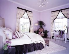 Similar to my room now....lavender and black go so well together!