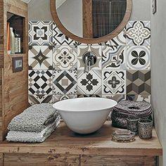"""Braga"" Pvc tiles for bathroom tiles and kitchen Ceramic decorations various sizes - Kacheln & Fliesen ♡ Wohnklamotte - Bathroom Decor Bathroom Toilets, Small Bathroom, Bathroom Black, Boho Bathroom, Kitchen Tiles, Kitchen Decor, Room Tiles, Bathroom Splashback, Tile Stickers Kitchen"