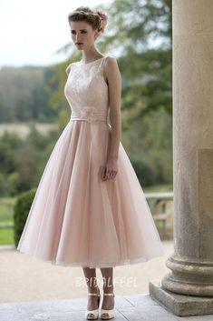 sleeveless blush flower a-line tea length tulle fall wedding dress