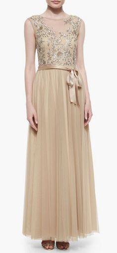 Aidan Mattox Embellished Tulle Cap-Sleeve Gown, Light Gold- Ginny Weasley bridesmaid dress inspiration