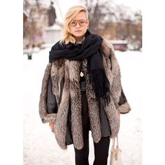 Street style shaved head and fur ❤ liked on Polyvore featuring pictures