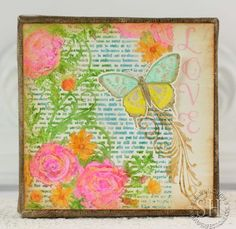 March 2013 JustRite French Rose background, Butterfly Dreams & Graceful Monogram stamped with Faber-Castell Gelatos on 6x6 canvas, designed by Sharon Harnist.