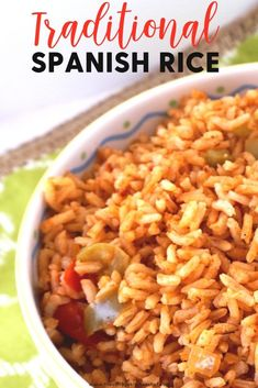 Easy and authentic Traditional Spanish Rice is the perfect accompaniment to tacos, grilled meats, fajitas or just about any dish with a Mexican flare. #fajitarice
