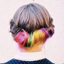 Secret rainbow hair is the crazy color trend made for preppy girls via brit Latest Hairstyles, Cool Hairstyles, Hairstyle Ideas, Weekend Hairstyles, Rainbow Hairstyles, Hidden Rainbow Hair, Underlights Hair, Preppy Girl, Natural Hair Styles
