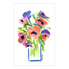 Floral in Vase Watercolor by Laura Trevey from Bright Bold & Beautiful