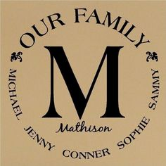 family vinyl monogram. Great site for customized quotes. Send them the wall quote you want and they will send you a sample of what it could look like.