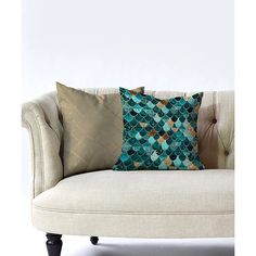 DENY Designs Green & Taupe Really Mermaid Throw Pillow ($35) ❤ liked on Polyvore featuring home, home decor, throw pillows, green accent pillows, green throw pillows, deny designs throw pillows, mermaid home decor and green toss pillows