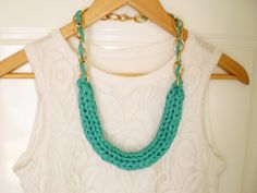 chunky necklace teal tshirt necklace green  by TheKnittedNecklace