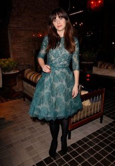 Zooey Deschanel's Teal green lace dress at Glamour cover party | WWZDW? What Would Zooey Deschanel Wear?