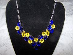 Statement Bib Necklace yellow and blue cabachons by vintagebyrudi, $19.99