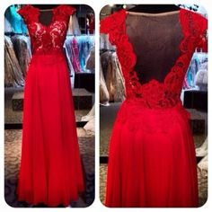 Red Long Prom Dress/Chiffon Prom dress/Lace by EternalBrides
