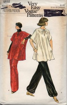Vogue 9632 1970s Misses Pullover Poncho Straight Leg Pants Pattern Womens  Vintage Sewing Pattern Size Medium Bust 34 - 36 UNCUT 9825cd546