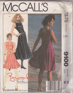 McCall's 9100 Vintage 80's Sewing Pattern STUNNING Brooke Shields Cutaway Armhole, Bateau Neck, Back Draped Knits New Wave Summer Party Dress