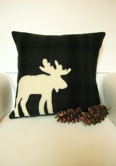Black Christmas pillow,Christmas White reindeer pillow #christmas #pillow #handmade www.loveitsomuch.com