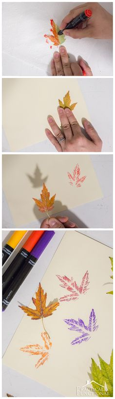 Make stamps out of real leaves by using markers! So easy, and you can see so much detail in the leaves!