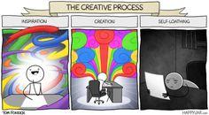 Happy Jar - The creative process Memes Br, Funny Memes, Hilarious, The Awkward Yeti, Happy Jar, Writing Humor, Artist Problems, Art Jokes, A Writer's Life