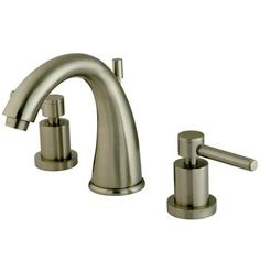 """Two Handle 8"""""""""""""""" to 16"""""""""""""""" Widespread Lavatory Faucet with Brass Pop-up - Satin Nickel"""