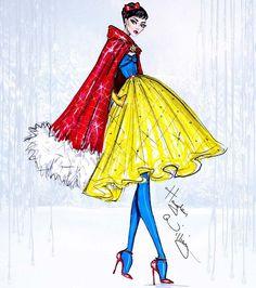 Fashion Illustration Ideas Disney Divas 'Holiday' collection by Hayden Williams: Snow White - Disney Princess Fashion, Disney Princess Drawings, Disney Drawings, Disney Style, Disney Art, Drawing Disney, Hayden Williams, Fashion Art, Trendy Fashion