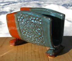 Napkin/Letter Holder  Orange/Turquoise Blue by sierraclayart