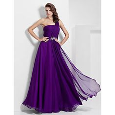 I think this is quite beautiful. The back is high enough that the band of the bra wouldn't show. A-line One Shoulder Floor-length Chiffon Evening/Prom Dress – USD $ 120.59