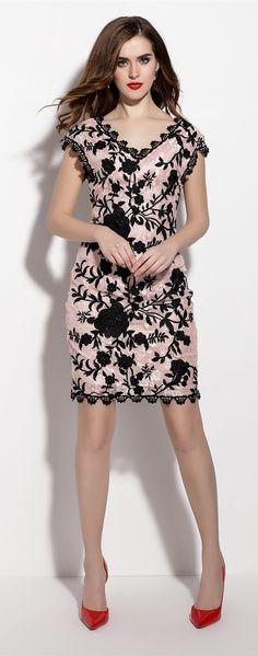 V Neck Floral Embroidery Sheath Dress