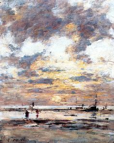 Near Trouville, Low Tide, Sunset, c.1885-1890 - Eugène Boudin (French, 1824-1898)