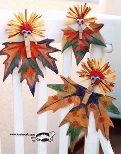 Colourful figures from leaves - Section 3 Harvest Crafts, Autumn Crafts, Autumn Art, Nature Crafts, Thanksgiving Crafts, Warm Autumn, Art For Kids, Crafts For Kids, Arts And Crafts