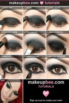 Best Ideas For Makeup Tutorials : Step-By-Step Tutorial for Nightfall black eyeshadow made easy! - Make up - Best Ideas For Makeup Tutorials : Step-By-Step Tutorial for Nightfall black eyeshadow made easy! - Make up - Gothic Makeup Tutorial, Makeup Tutorial Step By Step, Vampire Makeup Tutorial, Goth Makeup, Dark Makeup, Prom Makeup, Vampire Eyes, Make Up Tutorials, Make Up Tutorial