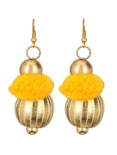 Gota Patti Yellow Pom-Pom Earrings #Women #indiandesigner #womensshopping #womenswear #ethnicstyle #traditionalwear #fashionable #stylish #wedding #jewellery #accessories #stepintostyle #stepintoawesome #beautifulyou #follow #trendy #love #gift Shop Now: http://bit.ly/21NW3OG