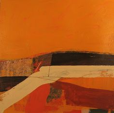 orange landscape abstract painting by JIMMIE JAMES PAINTINGS