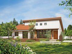 Japanese Modern House, Modern Tropical House, Tropical Houses, Japan House Design, Sims House Design, Bungalow House Design, Interior Exterior, Exterior Design, Facade Design
