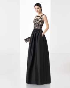 Long tailored dress with beaded bodice, round neck, V-back and taffeta skirt (accessorised with shawl), in black/nude, red/nude and silver.