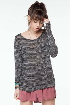 Like the big comfy sweater and shorter skirt